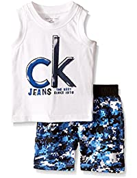 Baby Boys' Jersey Muscle Top and Printed Microfiber Shorts