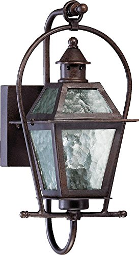 French Quarter One Light Outdoor Wall Lantern with Clear Hurricane Glass Shade in Oiled Bronze For Sale