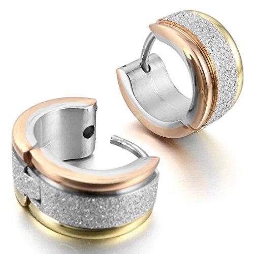 INBLUE Men's Stainless Steel Stud Hoop huggie Earrings Silver Rose Gold Tone Matte