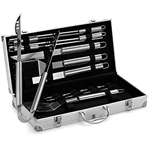 VonHaus 18-Piece Stainless Steel BBQ Accessories Tool Set - Includes Aluminum Storage Case for Barbecue Grill Utensils