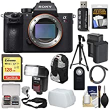 Sony Alpha A7R III 4K Wi-Fi Digital Camera Body with 128GB Card + Battery & Charger + Backpack + Strap + Tripod + Flash & LED Video Light Kit