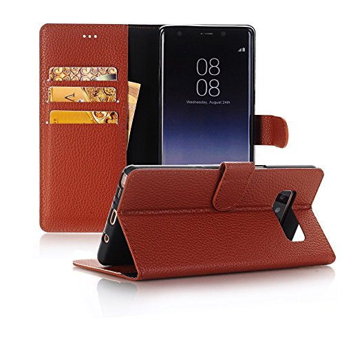Sammid Galaxy S8 Plus Case and Cover,6.2'' S8 Plus Case Cover, Premium PU Leather Flip Cover with Card Slots Holder for Galaxy S8 Plus - Brown by Sammid