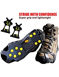 Crampons Ice Traction Cleats Extra Large - Grips Quickly and Easily Over Footwear for Snow and Ice - Portable - Sizes - M/L/XL