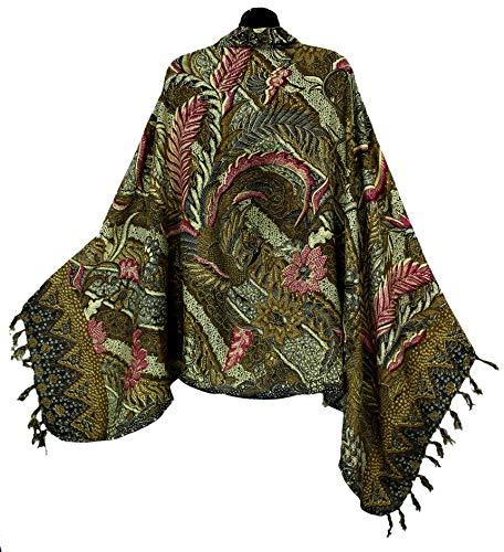 Traditional Balinese Batik Print Sarong with Fringe, Golden Brown
