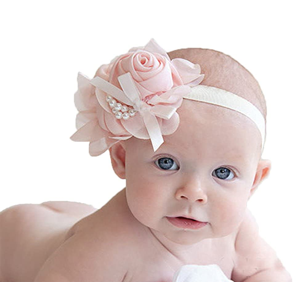 Waymeduo Baby Girl Headband Infant Chiffon Headdress Faux Pearl Hairband