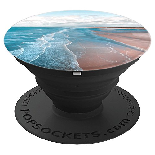 Pink Sand Beach Ocean Pattern   Cute Seashore Picture - PopSockets Grip and Stand for Phones and ()