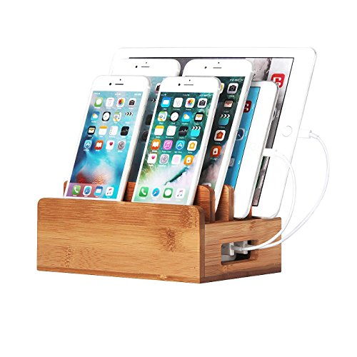 JackCubeDesign Bamboo mobile Charging Station Dock Port Stand Organizer Storage Box for iPhones, iPads, Tablets, Samsung Galaxy, Nexus, HTC, Tablet and more(Not Including Charging Hub) – :MK241A by JackCubeDesign