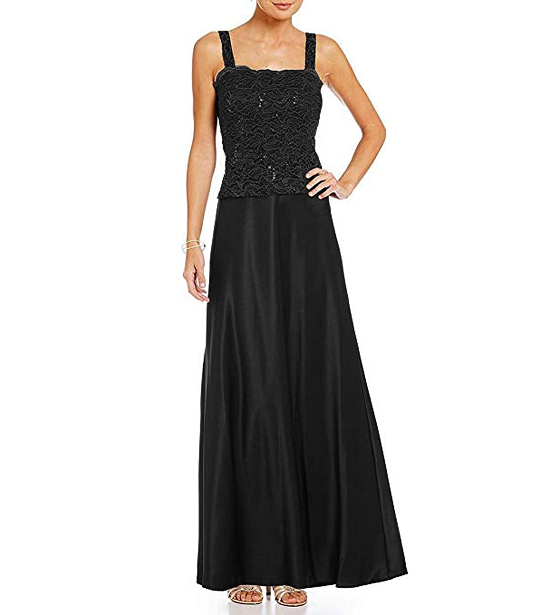 Black Women's Satin Ankle Length Mother of The Bride Dresses with Lace Jacket Plus Size 2 Piece
