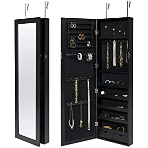 Best Choice Products Mirrored Lockable Jewelry Cabinet Armoire Organizer w/Door Hanging Hooks and Wall Mount, Brown