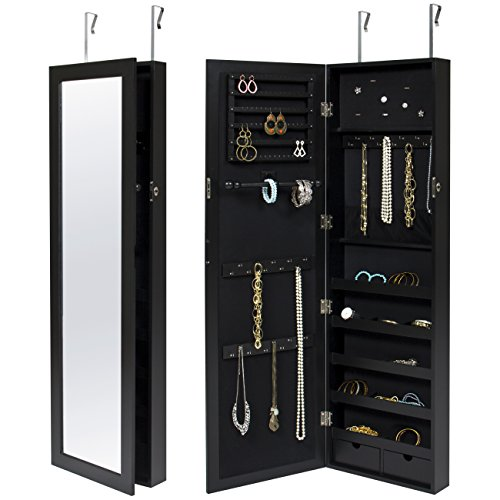 Best Choice Products Wall Door Mounted Locking Mirror Jewelry Cabinet Organizer W/ Keys- Black (Wall Mirror Jewelry Armoire)