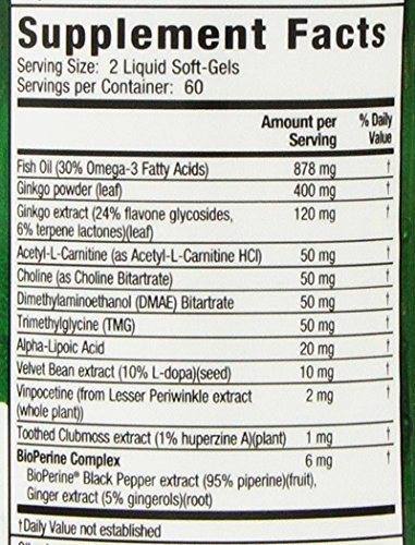 Ginkgo Smart by Irwin Naturals, Brain Booster for Memory & Focus, 120 Liquid Softgels by Irwin Naturals (Image #2)