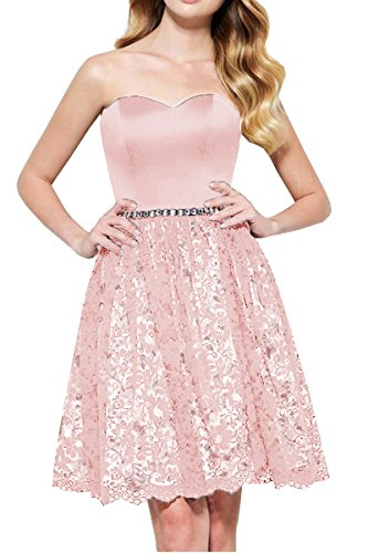 (DYS Women's Sweetheart Short Prom Homecoming Dress Lace Skirt Crystals Sash Pink US 6)