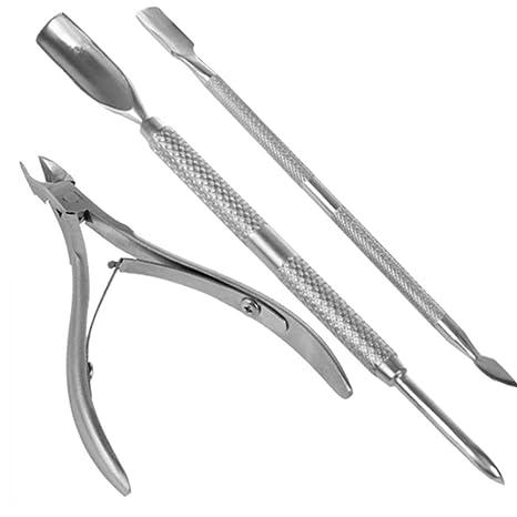 La cutícula del clavo empujador de la cuchara removedor de uñas Cortar la herramienta de pedicura manicura, uñas de bolsillo cutículas paquete ...
