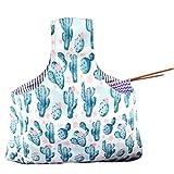 Unime Knitting Tote Bag Canvas Yarn Storage Organizer Bag for knitting Needles, Yarn and Crochet Supplies (L16.5''×H9'') (Cactus)