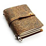 CONE Classics Embossed Retro Travel Leather Cover Diary Notebook 5.5x4.3x1.2 inch, Brown Pack of 1