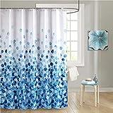 Uphome Fabric Shower Curtain, Blue Pebble Stone Rocks on White Bathroom Cloth Shower Curtain Set with Hooks, Heavy Duty Waterproof, 60x72