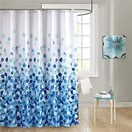 Amazoncom Uphome Fabric Shower Curtain Blue Pebble Stone Rocks On