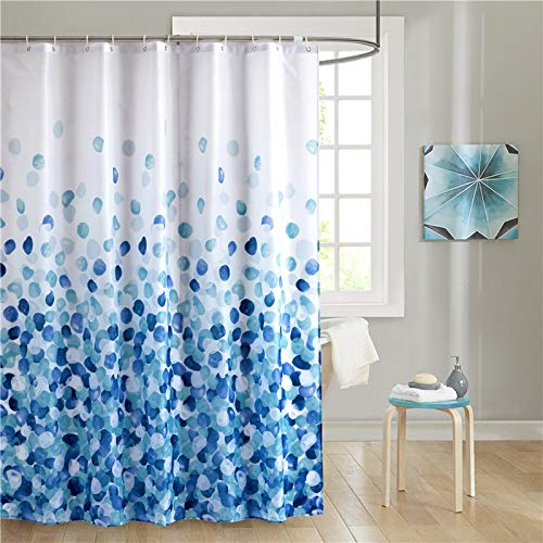 Uphome Fabric Shower Curtain, Blue Pebble Stone Rocks on White Bathroom Cloth Shower Curtain Set with Hooks, Heavy Duty Waterproof, 60x72