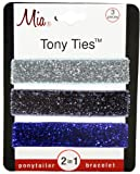 Mia Tony Hair Ties Gunmetal Glitter, Silver, Blue