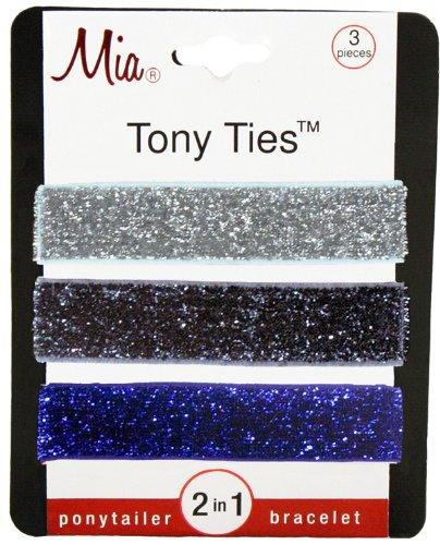 Mia Tony Hair Ties Gunmetal Glitter, Silver, Blue
