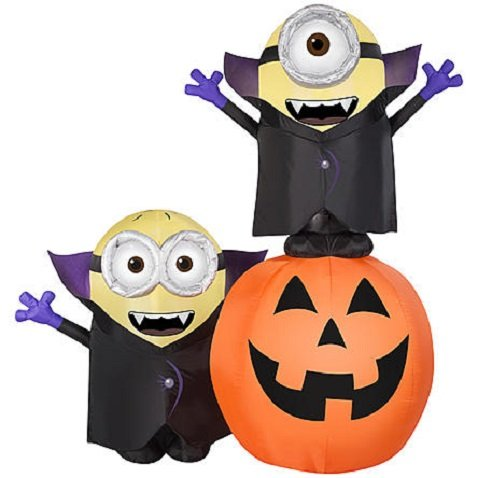 Halloween Lighted Minion Pumpkin Outdoor Inflatable Yard Decoration, 6.5 ft High x 6 ft Wide by Airblown Inflatable