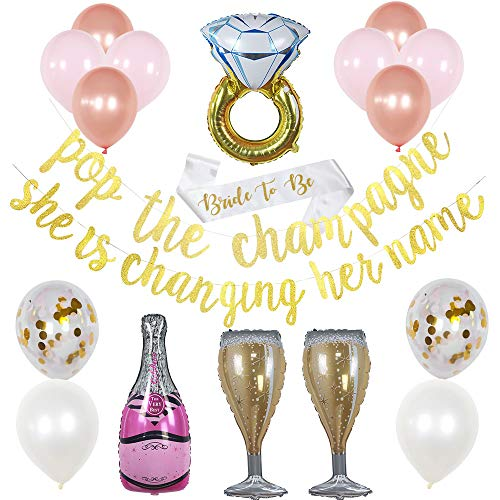 Bachelorette Party Decorations - Bridal Shower Decorations - Engagement Party - Pop The Champagne She is Changing Her Name - Bride to Be Sash