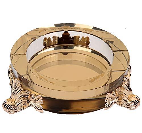 (Zr Luxury American Ashtray Creative Personality Fashion Home Office European-Style Ashtray European Trend Luxury Atmosphere Fashion 20X5cm (Color : Gold))