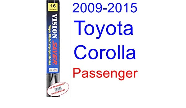 Amazon.com: 2009-2015 Toyota Corolla S Wiper Blade (Passenger) (Saver Automotive Products-Vision Saver) (2010,2011,2012,2013,2014): Automotive