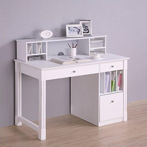 (WE Furniture White Wood Deluxe Storage Computer Desk with Hutch)