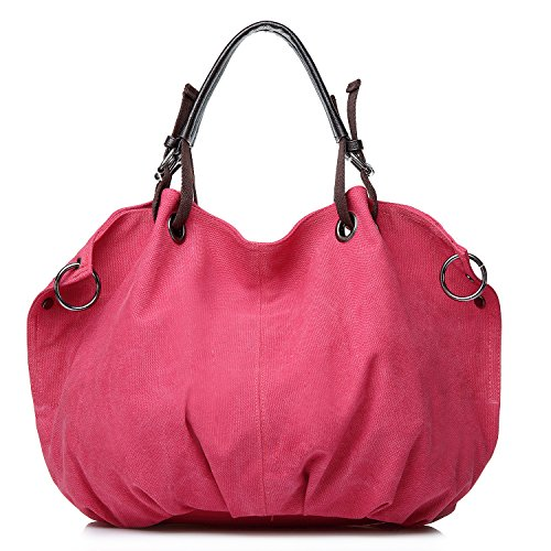 Genuine Handbag Hobo Leather Canvas Oversized XIN Bag Crossbody BARLEY Handle Women for Top Tote Shoulder Red Yztxwq