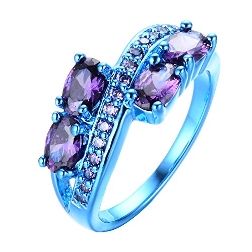 Bamos Jewelry Lab Purple Stone Cubic Zirconia Engagement Promise Party Blue Gold Plated Womens Ring Size 5-11