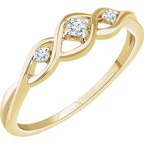 (FB Jewels 14K Yellow Gold .08 CTW Diamond Freeform Ring Size 7)