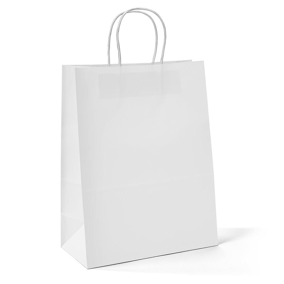 Halulu 100pcs 10''x5''x13'' - White Kraft Paper Bags, Shopping, Mechandise, Party, Gift Bags