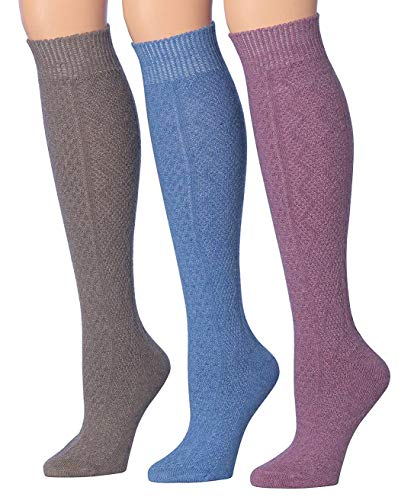 Blend Knee Socks - Tipi Toe Women's 3-Pairs Ragg Marled Argyle Knee High Wool-Blend Boot Socks, (sock size 9-11) Fits shoe size 6-9, WK01-C