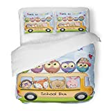 SanChic Duvet Cover Set Yellow Back School Bus and Four Cute Cartoon Animals Five Owls Balloons Decorative Bedding Set with 2 Pillow Shams Full/Queen Size
