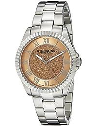 Stuhrling Original Women's 743.02 Vogue Audrey Shimmer Swiss Quartz Pink Dial Stainless Steel Bracelet Watch