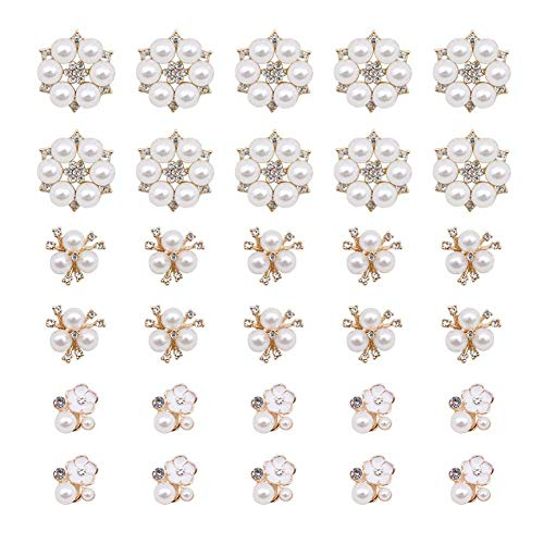30 Pcs Rhinestone Pearl Embellishments, Faux Pearl Flower Embellishments Pearl Brooch Flatback Pearl Buttons for Wedding Party Home Decoration and DIY Crafts (Wedding Button)
