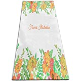 Yoga Mat Watercolor Floral Frame Customized 1/4-Inch Thick Exercise Mats For Pilates, Fitness & Workout