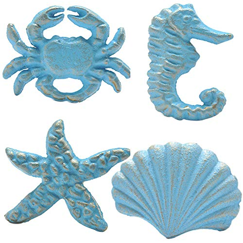 (Haidong Unique Retro Cast Iron Handle Seashell, Seahorse, Starfish, Scallop Single Hole Door Handle Drawer Handle(Set of 4) (Blue))