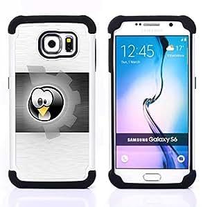 - Funny Sprocket Penguin - - Doble capa caja de la armadura Defender FOR Samsung Galaxy S6 G9200 RetroCandy