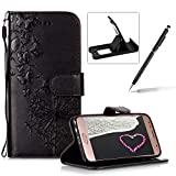 Wallet Leather Case for Samsung Galaxy J3 2018,Strap Leather Cover for Samsung Galaxy J3 2018,Herzzer Premium Elegant Black Dandelion Butterfly Printed Magnetic Foldable Full Body Folio Pu Leather Soft Inner Stand Cover with Card Slots