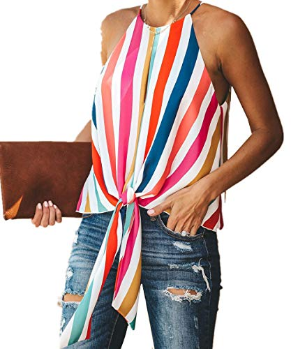 Womens Tie Front Halter Tank Tops Summer Sleeveless Rainbow Stripe and Plain Tunic Shirts Blouse (S, A-Multi)
