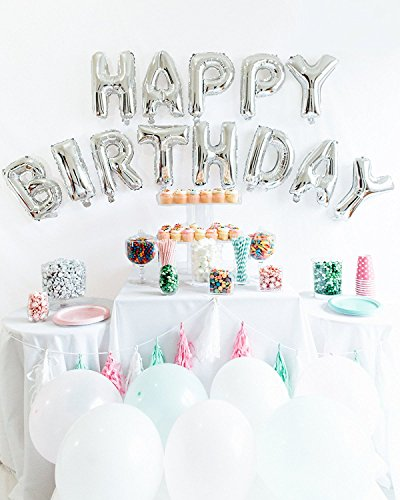 Happy Birthday Balloons Alphabet Letters foil Balloons 16 Inch Party Decoration Supplies (Inflate Balloons)