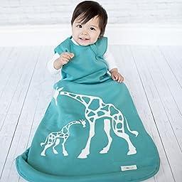 Wee Urban Cozy Basics 4 Season Baby Sleeping Bag, Aqua Giraffe, Med 6-18m