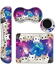 Keyboard Wrist Rest Pad and Mouse Wrist Rest Pad with Gaming Mouse Pad & Coasters, Memory Foam Non Slip Base Wrist Rest Pad Set for Office Laptop Easy Typing & Pain Relief - Cat on Galaxy