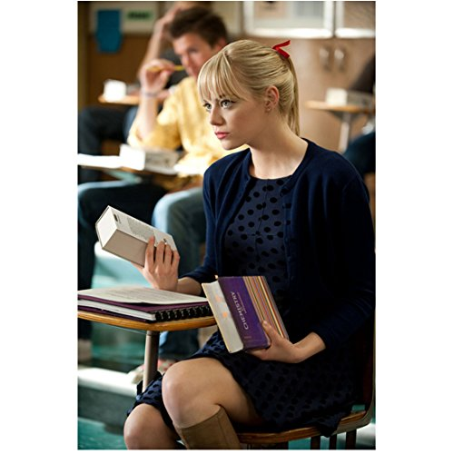 The Amazing Spider-Man Emma Stone as Gwen Stacy Holding Books Seated 8 x 10 Inch - Gwen Chris And