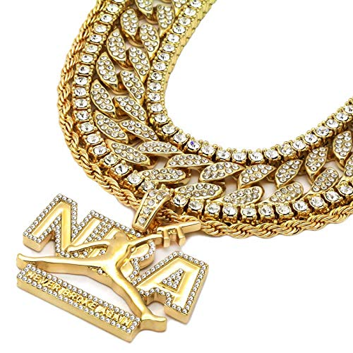 L & L Nation 5 pcs Bundle Set 14k Gold Plated Hip Hop Fully Cz Iced Out Chain Never Broke Again Pendant ()