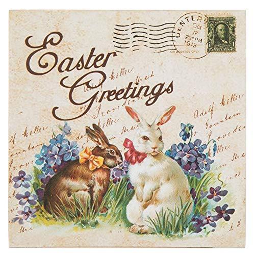 Easter Postcard (HAPPY DEALS ~ Easter Greetings Vintage Postcard Look Wood Block Tabletop Sign - 5x5 inch)
