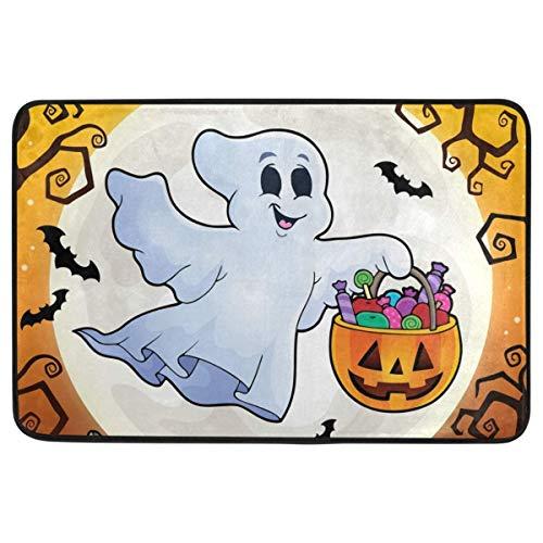 (Happy Halloween Doormat Non Slip Washable Cute Floating Ghost Pumpkin Full Moon Indoor Outdoor Entrance Bathroom Floor Mats Festival Party Home Decor 23.6 x 15.7)