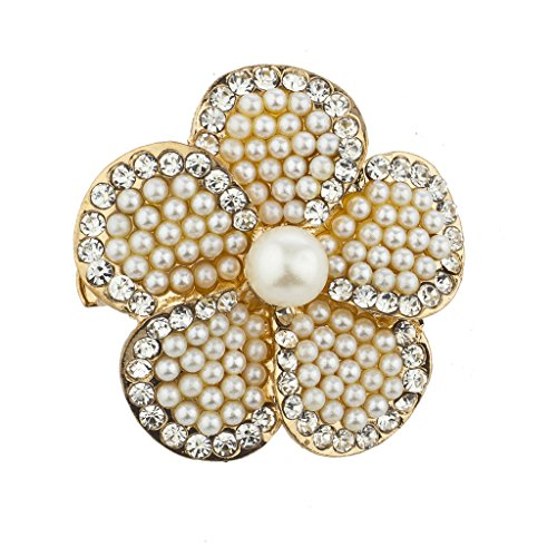 Lux Accessories Goldtone imitation Pearl and Rhinestone Floral Flower Brooch Pin